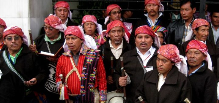 Ancestral indigenous authorities in Guatemala at the Constitutional Court hearing that could invalidate the existing Mining Law for failing to include ILO 169 and the right to consultation.